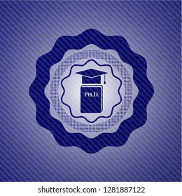 Phd thesis icon inside emblem with denim high quality background