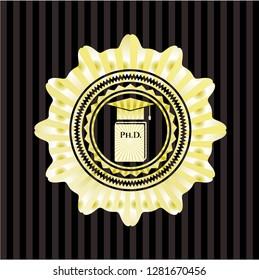 Phd thesis icon inside gold shiny emblem