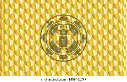 Phd thesis icon inside golden emblem or badge. Scales pattern. Vector Illustration. Detailed.