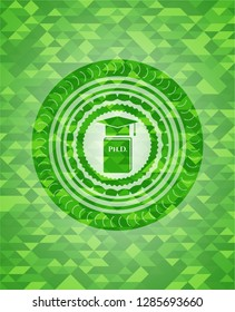 Phd thesis icon inside green emblem. Mosaic background