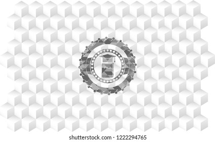 Phd thesis icon inside grey emblem with geometric cube white background