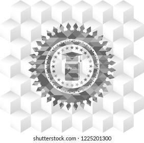 Phd thesis icon inside grey emblem. Vintage with geometric cube white background