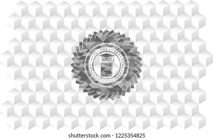 Phd thesis icon inside grey icon or emblem with geometric cube white background