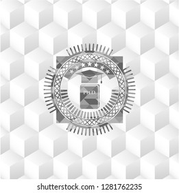 Phd thesis icon inside grey emblem with cube white background