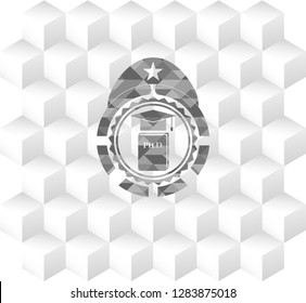 Phd thesis icon inside grey badge with geometric cube white background