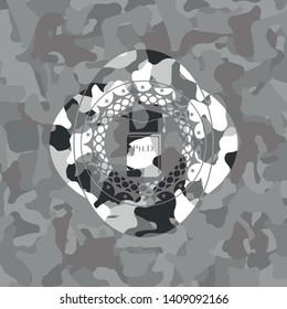 Phd thesis icon inside grey camo emblem