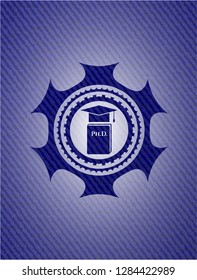 Phd thesis icon inside jean or denim emblem or badge background