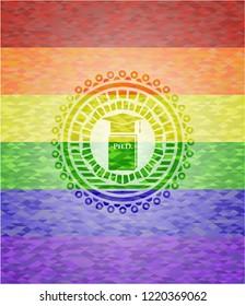 Phd thesis icon inside lgbt colors emblem