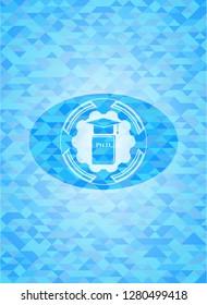 Phd thesis icon inside light blue mosaic emblem