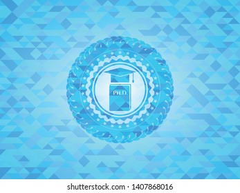 Phd thesis icon inside light blue emblem with mosaic background