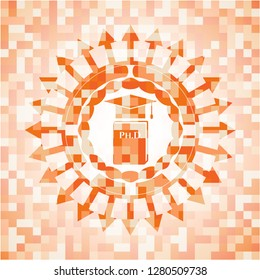 Phd thesis icon inside orange mosaic emblem