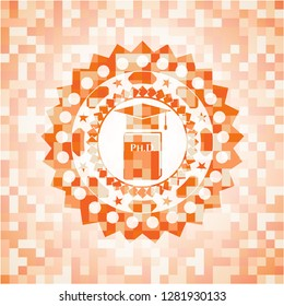 Phd thesis icon inside orange mosaic emblem with background
