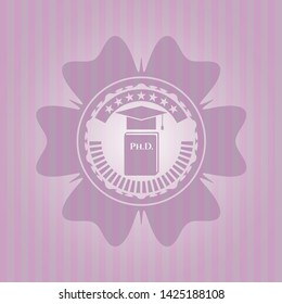 Phd thesis icon inside pink emblem. Vintage.