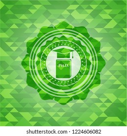 Phd thesis icon inside realistic green mosaic emblem