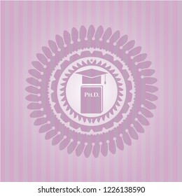 Phd thesis icon inside realistic pink emblem