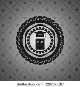 Phd thesis icon inside realistic black emblem