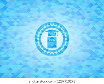 Phd thesis icon inside realistic light blue mosaic emblem