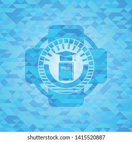 Phd thesis icon inside realistic sky blue emblem. Mosaic background