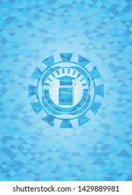 Phd thesis icon inside realistic sky blue mosaic emblem