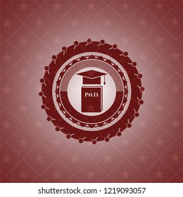 Phd thesis icon inside red icon or emblem