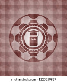 Phd thesis icon inside red emblem with geometric pattern background. Seamless.