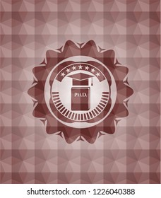 Phd thesis icon inside red emblem with geometric pattern. Seamless.