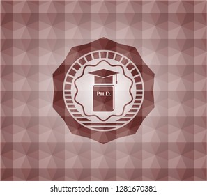 Phd thesis icon inside red badge with geometric pattern. Seamless.