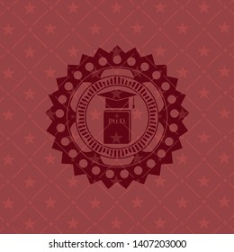 Phd thesis icon inside red emblem. Vintage.