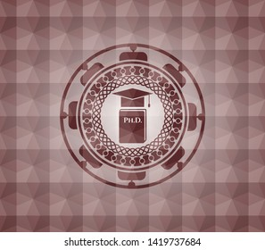 Phd thesis icon inside red seamless badge with geometric pattern background.