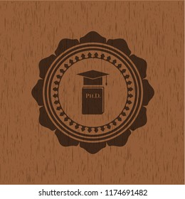 Phd thesis icon inside retro style wooden emblem