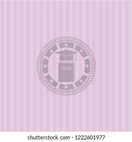 Phd thesis icon inside retro pink emblem