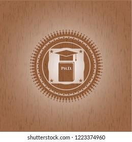 Phd thesis icon inside retro wood emblem