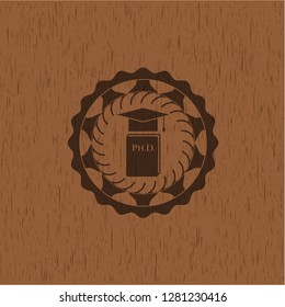 Phd thesis icon inside retro wooden emblem