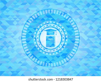 Phd thesis icon inside sky blue emblem. Mosaic background