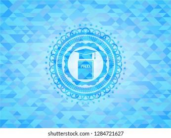 Phd thesis icon inside sky blue mosaic emblem