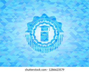 Phd thesis icon inside sky blue emblem with mosaic ecological style background