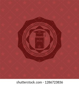 Phd thesis icon inside vintage red emblem
