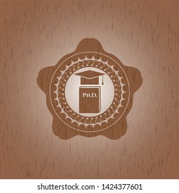Phd thesis icon inside vintage wooden emblem