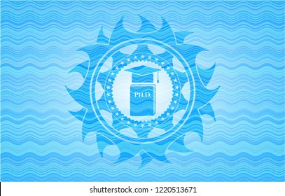 Phd thesis icon inside water badge.