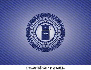 Phd thesis icon with jean texture