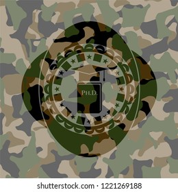 Phd thesis icon on camouflage pattern