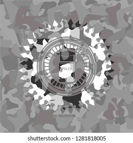 Phd thesis icon on grey camo pattern