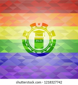 Phd thesis icon on mosaic background with the colors of the LGBT flag