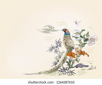 pheasant bamboo flower nature landscape view vector sketch illustration japanese chinese oriental line art ink card background
