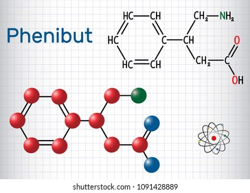 Phenibut is a central nervous system depressant with anxiolytic and sedative effects. Structural chemical formula and molecule model. Sheet of paper in a cage. Vector illustration