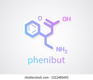 Phenibut molecule - Skeletal formula on white background