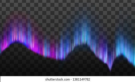 Phenomenon Arctic Northern Aurora Light Vector. Realistic Northern Atmospheric Constituents Emits Light Of Varying Color And Complexity Isolated On Transparency Grid Background. 3d Illustration