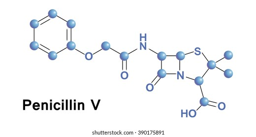 Phenoxymethylpenicillin, commonly known as penicillin V, is an antibiotic useful for the treatment of a number of bacterial infections. Vector medical illustration.