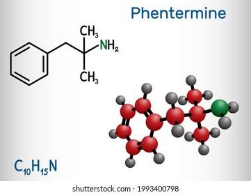 Phentermine, molecule. It is natural monoamine alkaloid derivative, sympathomimetic stimulant with appetite suppressant property. Structural chemical formula and molecule model. Vector illustration
