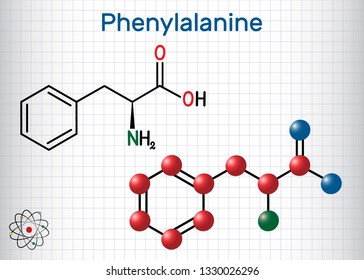 Phenylalanine (lL-phenylalanine, Phe , F) amino acid molecule.  Sheet of paper in a cage. Structural chemical formula and molecule model. Vector illustration